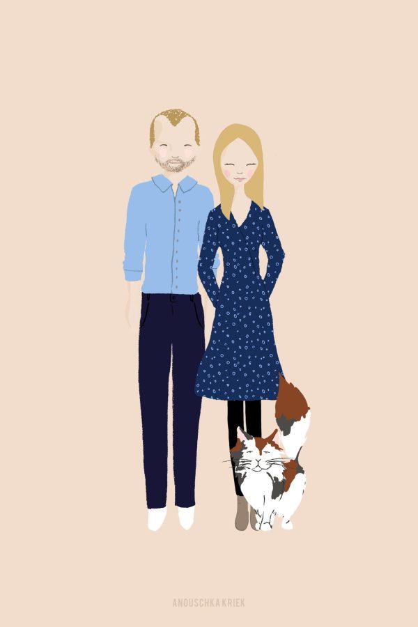 mooi getekend portretje gezin