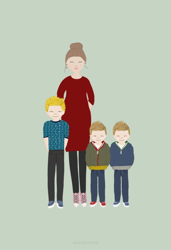 getekend portret gezin met kinderen