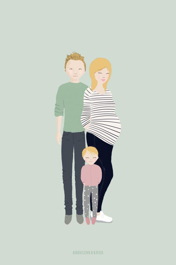 Portretje van gezin met zwangere vrouw